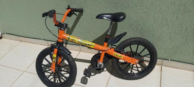 Bicicleta caloi t_rex laranaja - tam 14 (criancas 3 a 7 anos