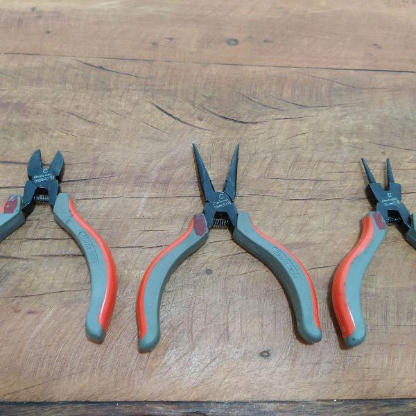 Conjunto 3 mini alicates mundial: corte, meia cana e bico