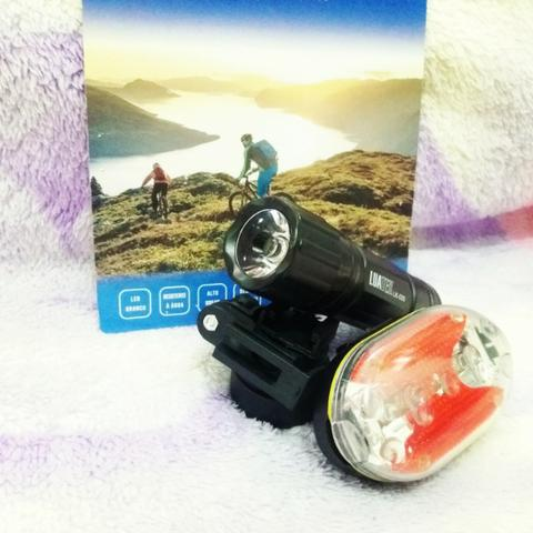 Kit com lanterna e luz traseira para bicicletas, lk-030.