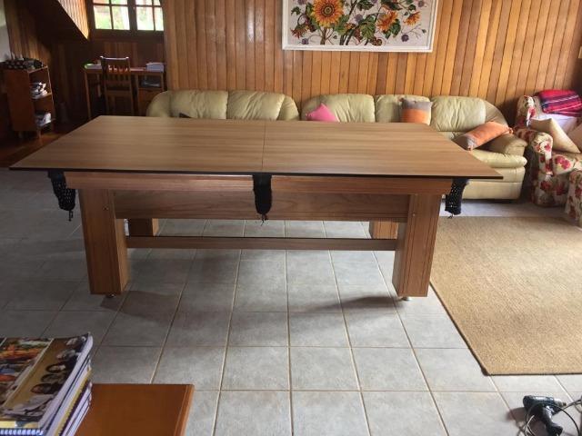 Mesa madeira de bilhar e jantar | mesa cerejeira | tecido