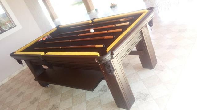 Mesa madeira de sinuca | mesa preta | tecido preto | borda