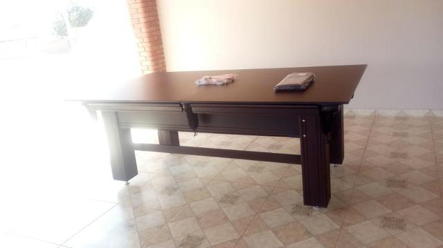 Mesa sinuca e jantar | mesa preta | tecido preto | borda