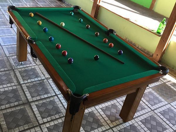 Mesa tentação de sinuca cor imbuia tecido verde mod.