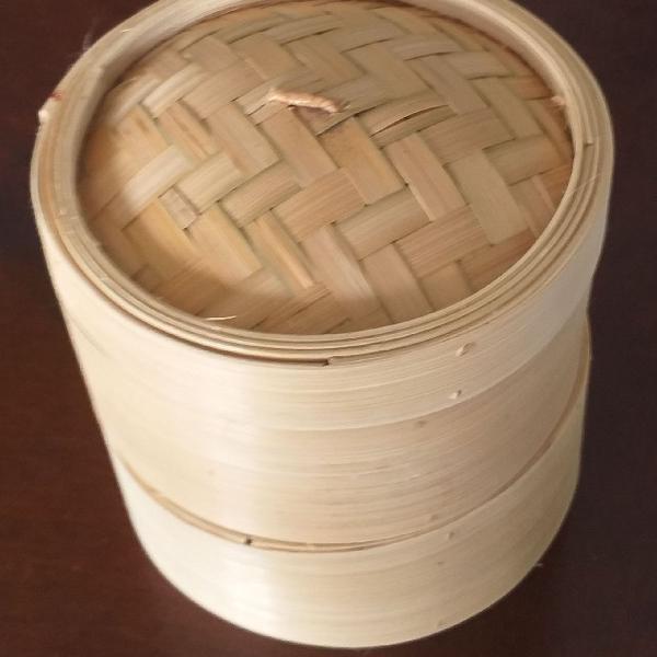 Panela de bambu p/ cozimento a vapor