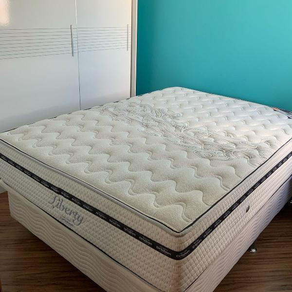 Cama box baú branca com colchão (produto semi-novo)