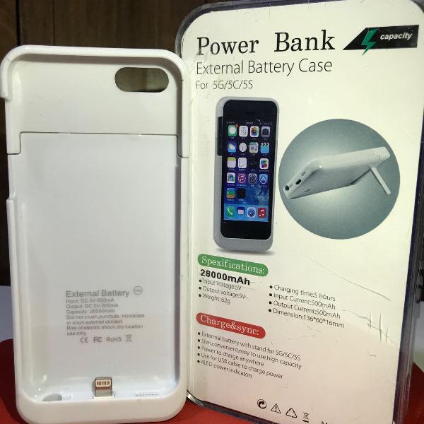Capa case carregador bateria externa iphone 5 5c 5s