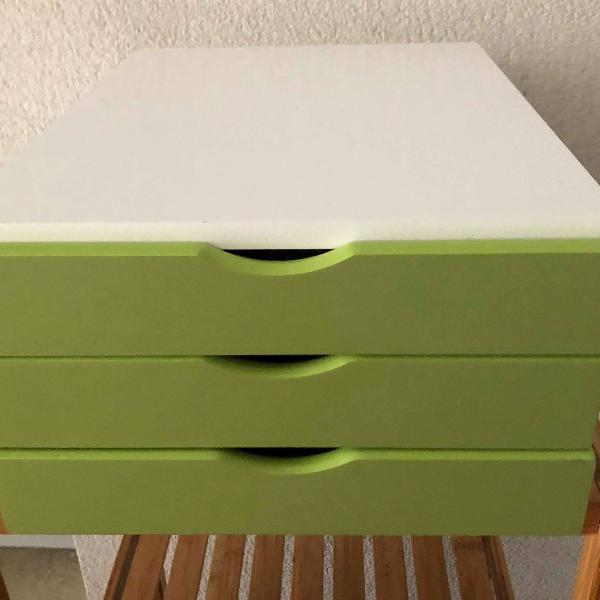 Gaveteiro de mesa ou suporte para monitor em madeira