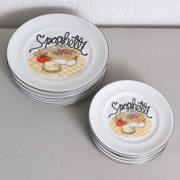 Jogo 12 pratos porcelana schmidt spaghetti