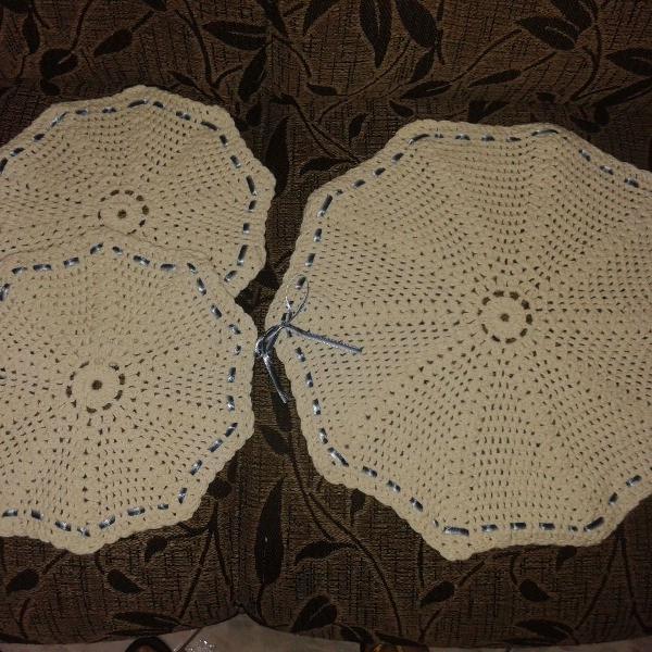 Jogo de crochê quadrado ou redondo de barbante 3 peças (1