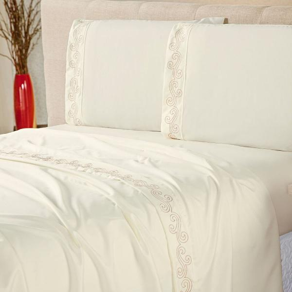 Jogo de lençol cama casal 4 peças dublin vira bordada