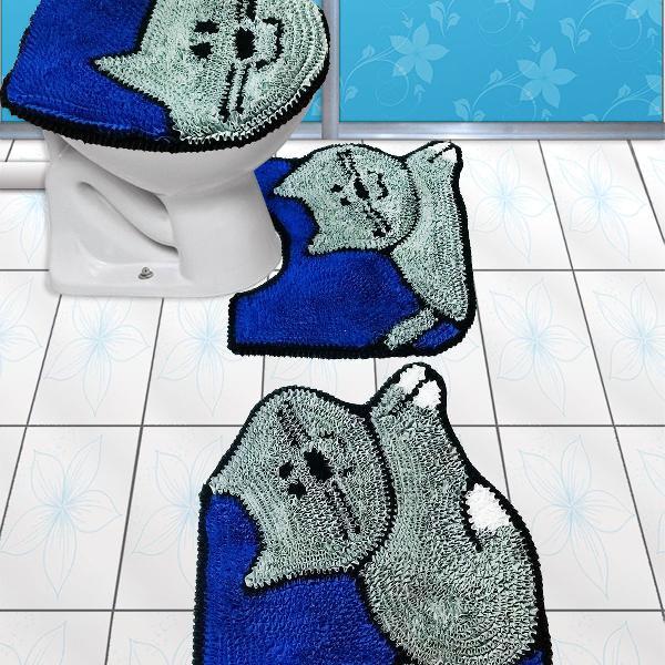 Jogo de tapetes para banheiro gato com azul - 3 peças