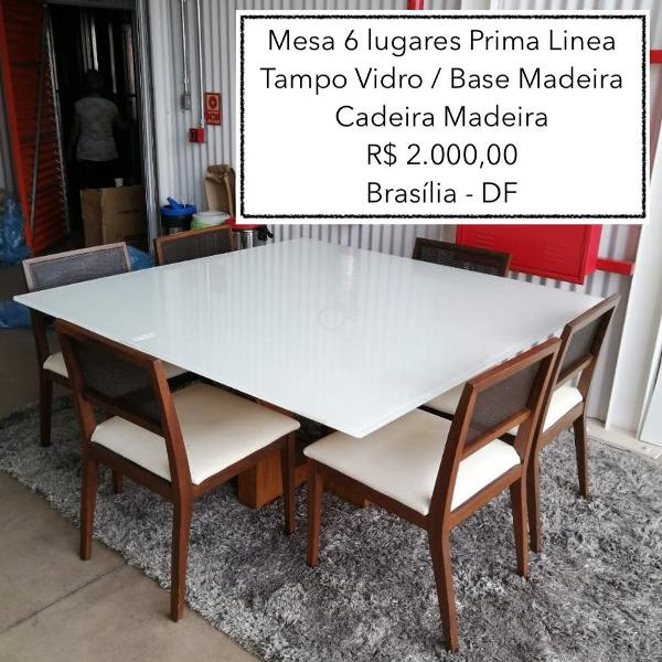 Mesa jantar 6 lugares com cadeiras prima linea