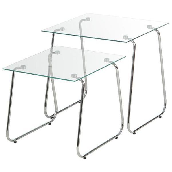 Mesa lateral indi de vidro tok&stok