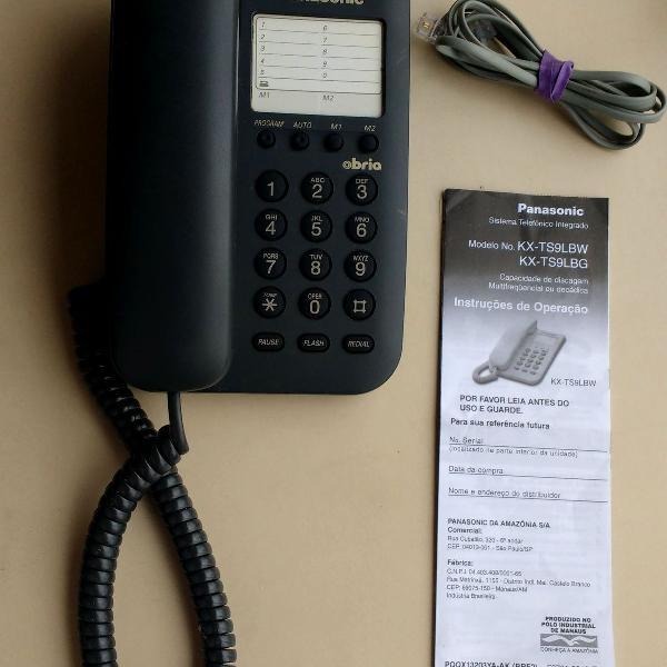Telefone com fio panasonic kx-ts9lbw - preto