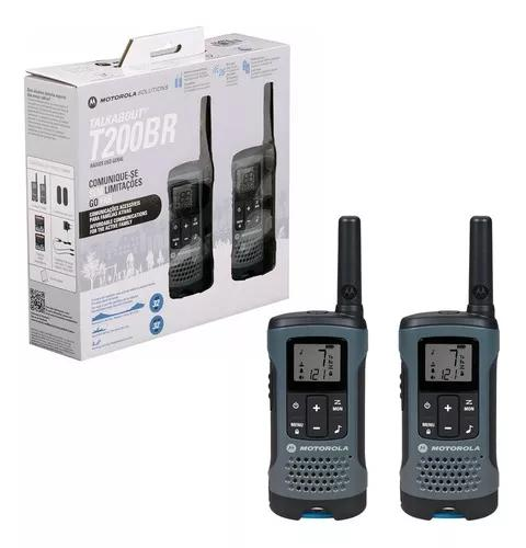 1 par radio comunicador talkabout 32km t200br cinza motorola