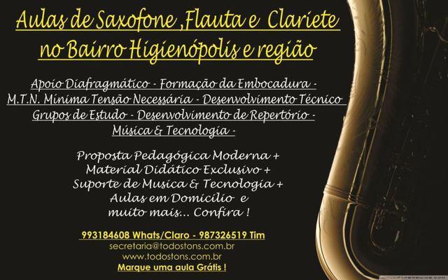 Aulas de Sax, Flauta, Clarinete e Gaita em Higienópolis e