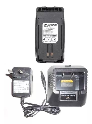 Bateria extra baofeng uv-6r + carregador completo com fonte