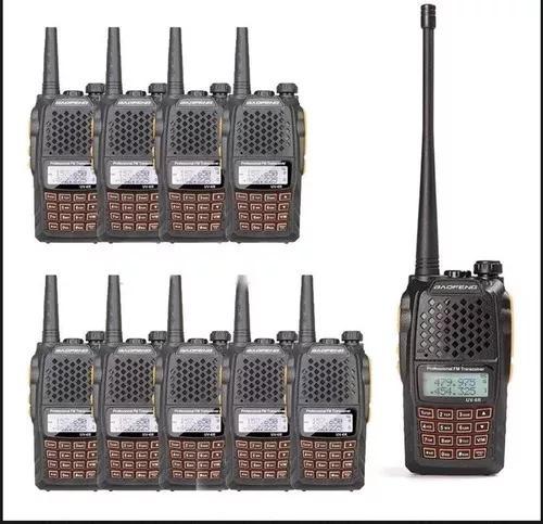 Kit 10 radio ht walk talk dual band uhf vhf fm baofeng uv-6r