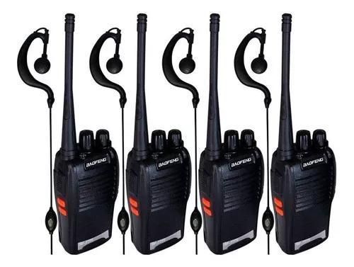 Kit 4 radios baofeng bf-777 walk talk comunicador + 4 fones