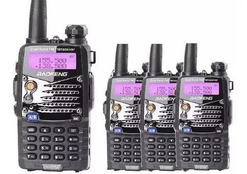 Kit 4 radios comunicador dual band baofeng uv5ra uhf+fone fm