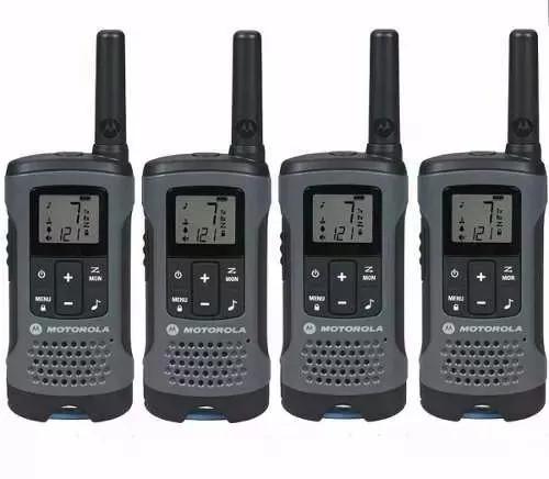 Kit 4 rádios comunicador 32km t200mc cinza motorola
