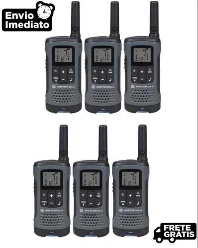 Kit 6un radio comunicador talkabout t200br cinza motorola