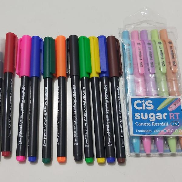 Kit de brushs + canetas coloridas