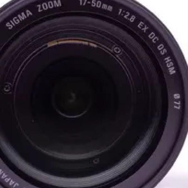 Lente sigma 17-50 mm 1:2.8 ex dc hsm/ nikon com parasol