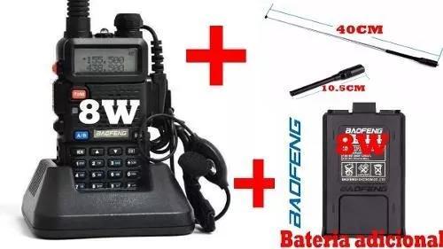 Radio ht uv5r 8w baofeng + bateria adicional+ antena 40cm ki