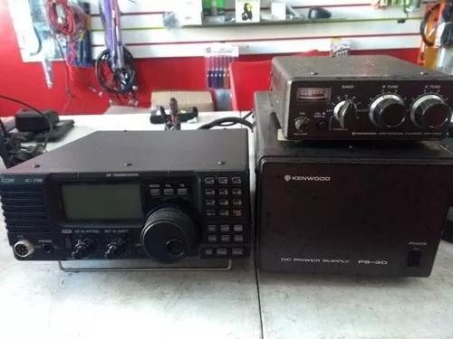 Rádio amador base icom ic 718 hf com fonte kenwood ptt
