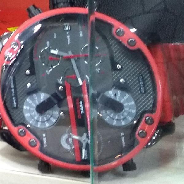 Relógio diesel aço inoxidável vermelho 100% funcional