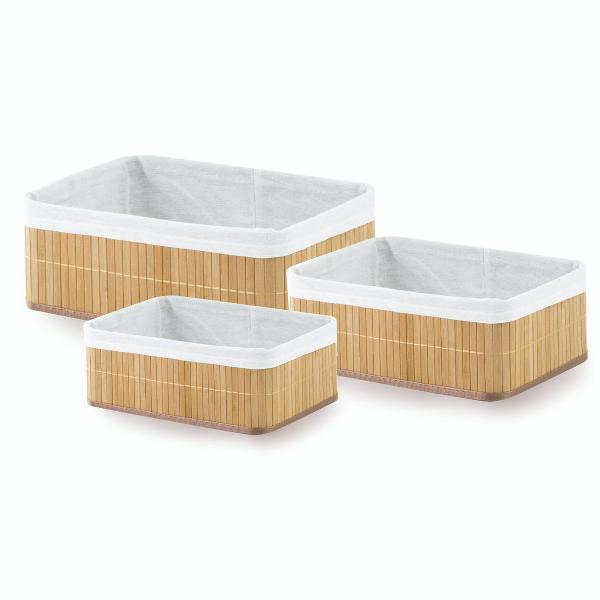 Cestos organizadores com 3 peças em bambu forrado em