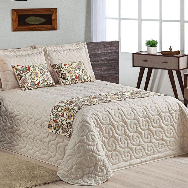 Cobre leito cama queen kit provençal 8 peças c/ peseira