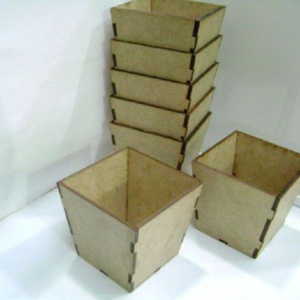 Kit 30 cachepo mdf cru 7x7x7 cm