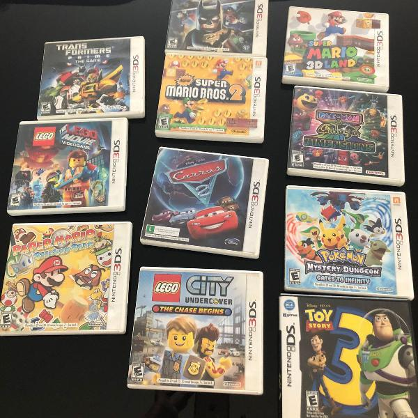 Kit console nintendo 3ds - preto ou vermelho + jogos