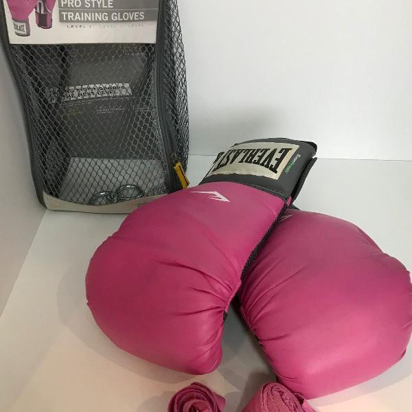 Luva de boxe everlast + munhequeira rosa