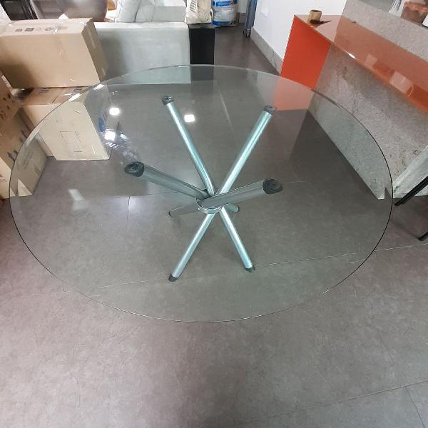 Mesa redonda de vidro 90cm