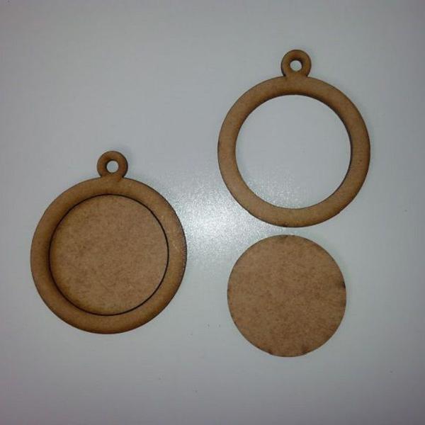 Pingente mini bastidor mdf cru 10 peças 5 cm