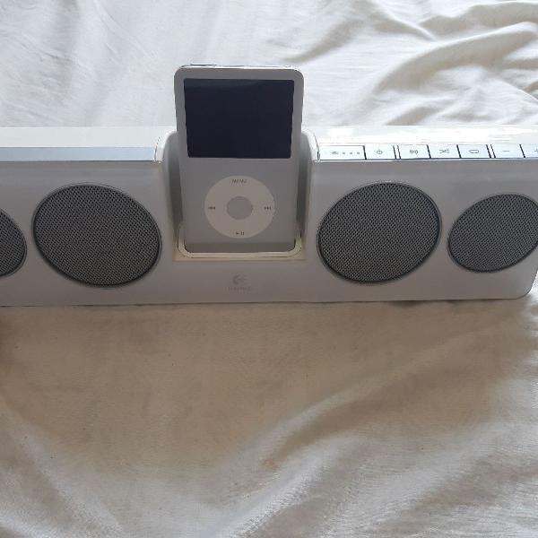 Ipod clasic 80gb com caixa de som logitech