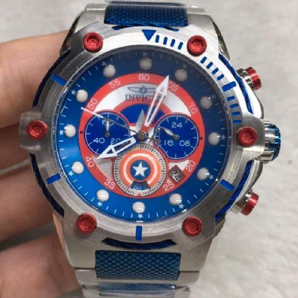 Relógio invicta bolt capitão america aço inoxidável 100%