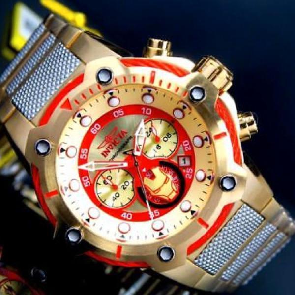 Relógio invicta bolt homen de ferro top super herói
