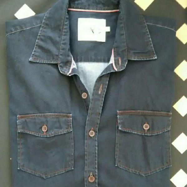 Blusa camisa jeans manga longa