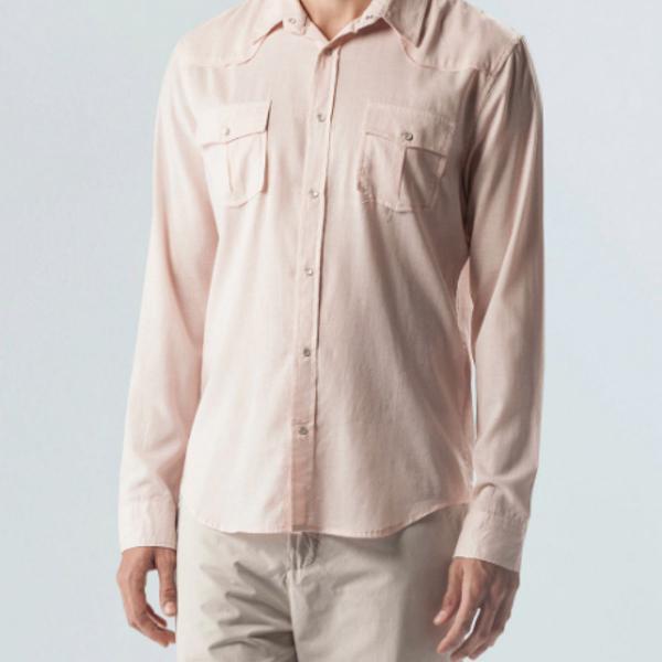 Camisa botao osklen travel shirt lilás tam. p