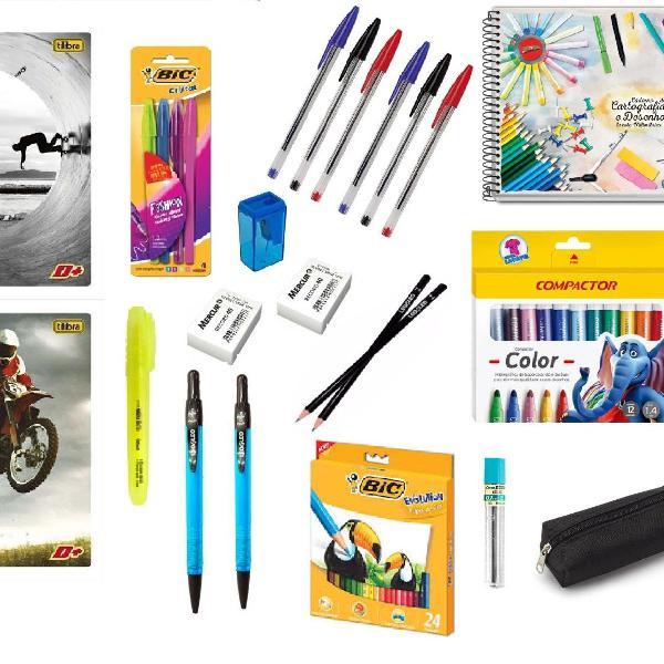 Caneta caderno de desenho material escolar lápis de cor kit