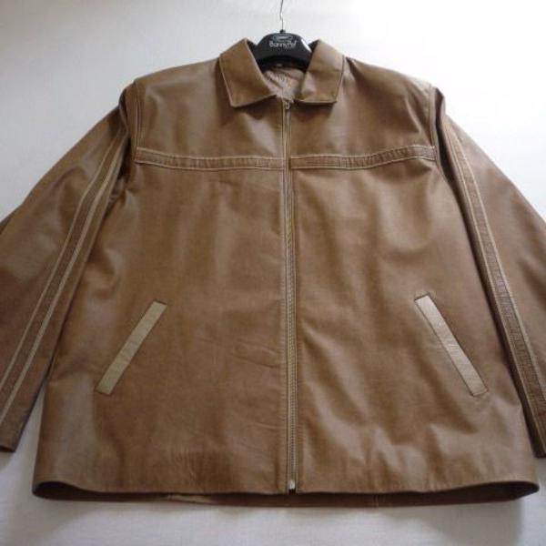 Casaco de couro castanho cassis masculino tamanho g