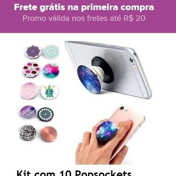 Kit com 10 popsockets pop socket suporte celular + kit pop