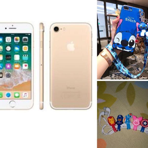 Apple iphone 7 128 gb ouro+garantia 1 ano+nf+ brinde