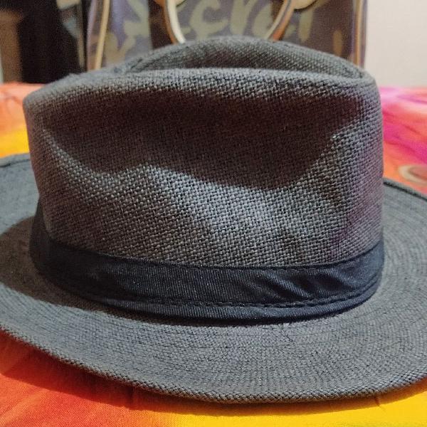 Chapéu panamá grande cinza chumbo
