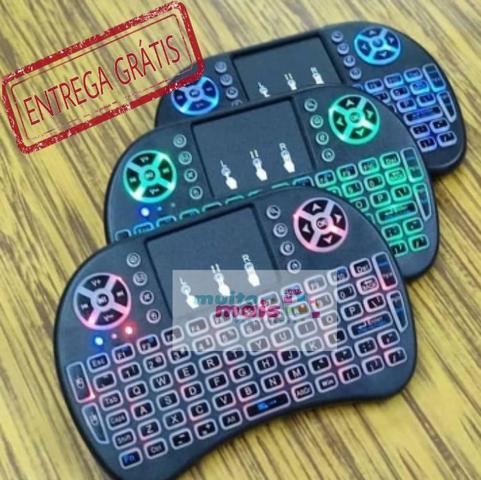 Mini teclado mouse touchpad wireless bluetooth iluminado