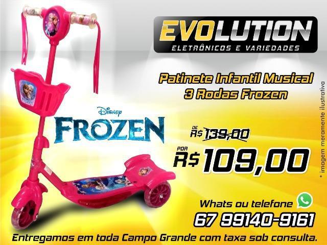 Patinete infantil musical frozen 3 rodas com luzes